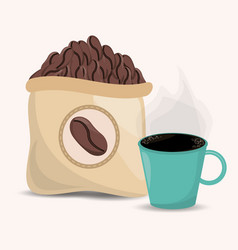 coffee beans sac and cup image vector image