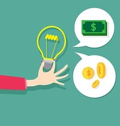 concept idea sign bulb light change money vector image vector image