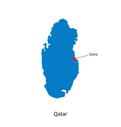 Detailed map of Qatar and capital city Doha vector image vector image