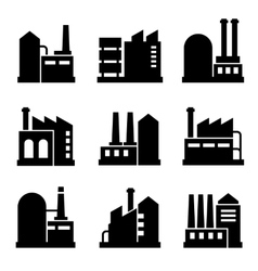 Factory and Power Industrial Building Icon Set 2 vector image vector image