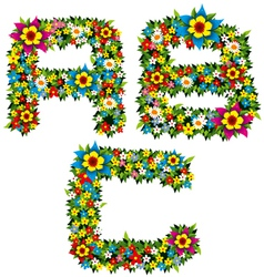 flower and bush letters 01 vector image vector image