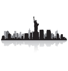 New york usa city skyline silhouette vector