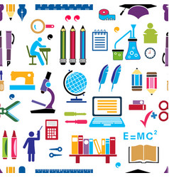 retro school colored silhouettes things seamless vector image