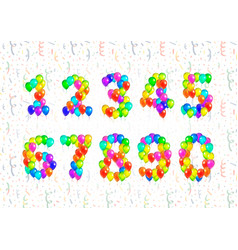 set of number symbols made up from bright colorful vector image