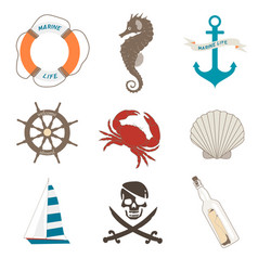 set of sea elements vector image vector image