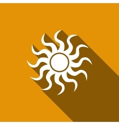 Sun-sign icon with long shadow vector image
