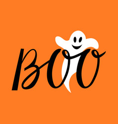 Boo modern inscription with ghost vector
