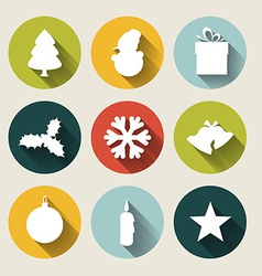 Vintage christmas card with various seasonal vector image vector image