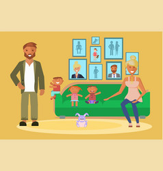 young family portrait vector image
