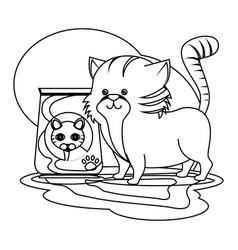cute kitty mascot icon vector image vector image