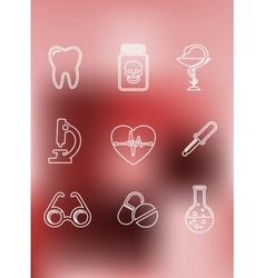 Medical icons in outline style vector image