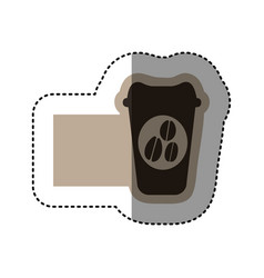 sticker monochrome emblem with disposable coffee vector image vector image
