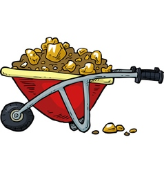 with gold nuggets trolley vector image
