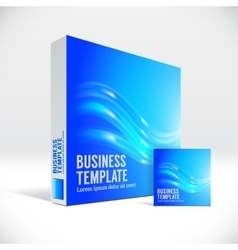 3d identity box with abstract blue shiny lines vector