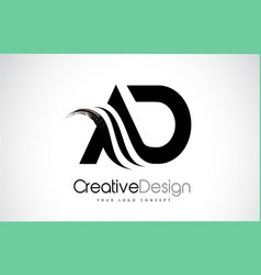 Ad a d creative brush black letters design with vector