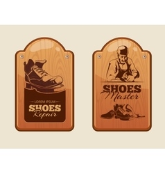 advertisement wood panels for shoes repair vector image