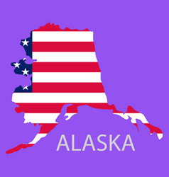 Alaska state of america with map flag print vector