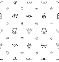 Angel icons pattern seamless white background vector