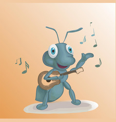 ant singing with guitar cute cartoon vector image