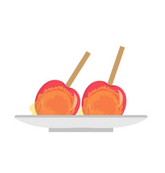 Apples in caramel icon flat cartoon style candy vector