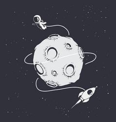 Astronaut flying around moon vector