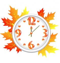 autumn time clock vector image
