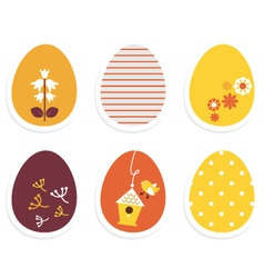 Beautiful cute easter eggs isolated on white vector image