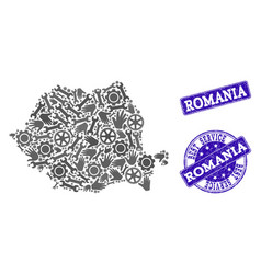 Best service composition of map of romania and vector