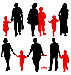 Black silhouettes Family on white background vector