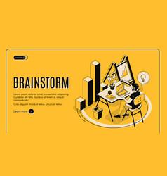 brainstorm isometric landing page online service vector image