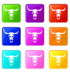 Buffalo skull set 9 vector