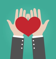 Businessman Hands Giving Red Heart Love Concept vector