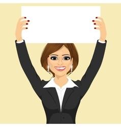 Businesswoman holding white blank board vector