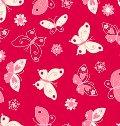 Butterfly and flowers seamless pattern vector image