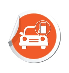 car with gas station icon orange label vector image