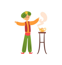 Cartoon man summons genie from magic golden lamp vector