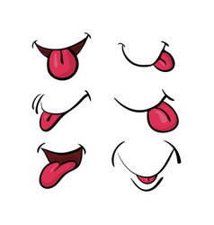 cartoon mouth with tongue set symbol icon design vector image