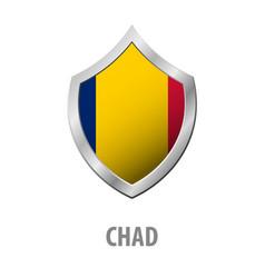 chad flag on metal shiny shield vector image