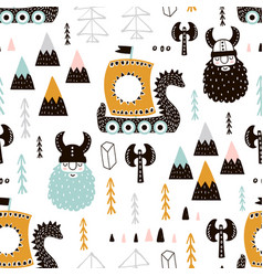 Childish seamless pattern with vikings trendy vector