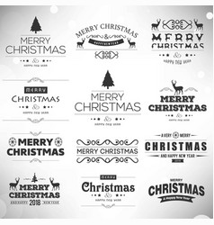 Chrismtas typographic sets black vector