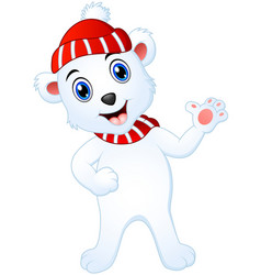Christmas white polar bear cartoon waving hands vector