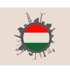 Circle with industrial silhouettes Hungary flag vector