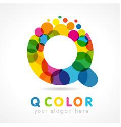 Colored q logo concept vector