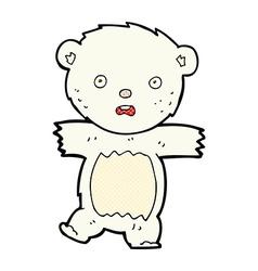 Comic cartoon shocked polar bear cub vector