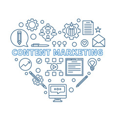 content marketing heart blue thin line vector image