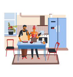 Couple cooking dishes at home wife and husband vector