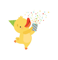 cute duckling with a party popper lovely cartoon vector image