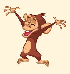 Cute excited monkey cartoon vector