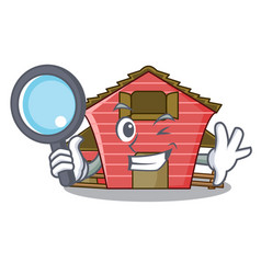 Detective a red barn house character cartoon vector