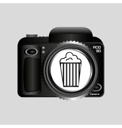 digital photo camera pop corn pin vector image vector image